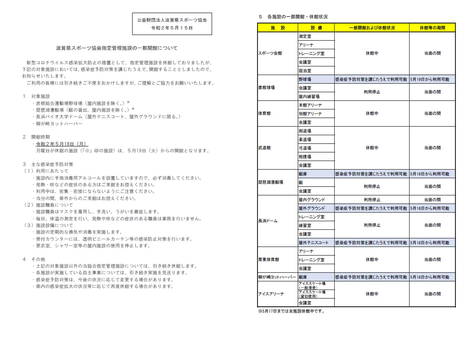 滋賀県スポーツ協会指定管理施設の一部開館について