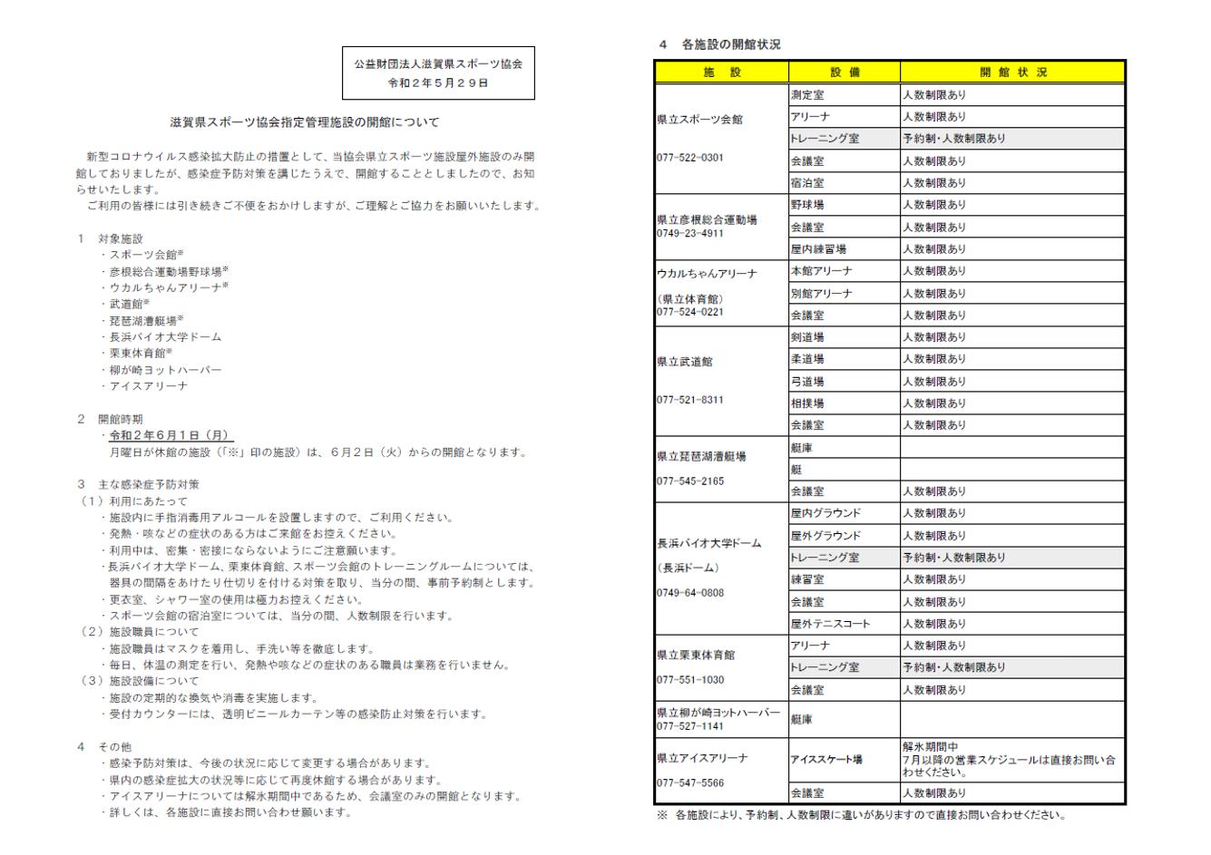 滋賀県スポーツ協会指定管理施設の開館について